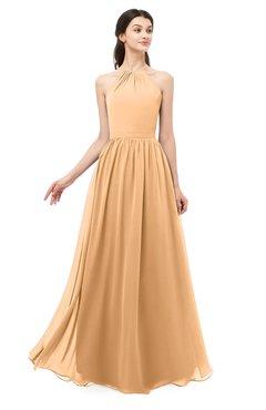 ColsBM Irene Salmon Buff Bridesmaid Dresses Sleeveless Halter Criss-cross Straps Sexy A-line Sash