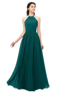 ColsBM Irene Shaded Spruce Bridesmaid Dresses Sleeveless Halter Criss-cross Straps Sexy A-line Sash