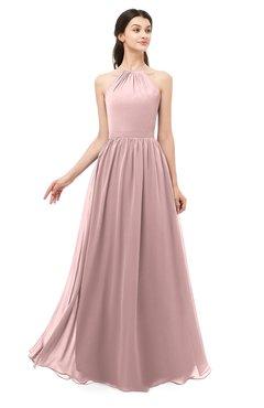 ColsBM Irene Silver Pink Bridesmaid Dresses Sleeveless Halter Criss-cross Straps Sexy A-line Sash
