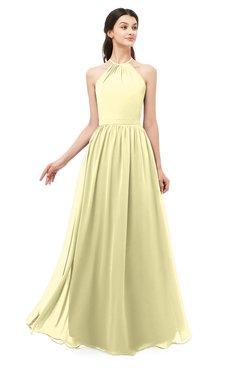 ColsBM Irene Soft Yellow Bridesmaid Dresses Sleeveless Halter Criss-cross Straps Sexy A-line Sash