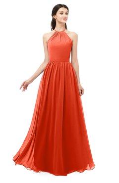 ColsBM Irene Tangerine Tango Bridesmaid Dresses Sleeveless Halter Criss-cross Straps Sexy A-line Sash