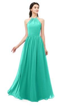 ColsBM Irene Viridian Green Bridesmaid Dresses Sleeveless Halter Criss-cross Straps Sexy A-line Sash