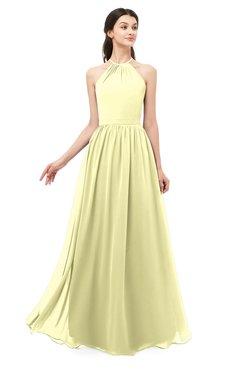 ColsBM Irene Wax Yellow Bridesmaid Dresses Sleeveless Halter Criss-cross Straps Sexy A-line Sash