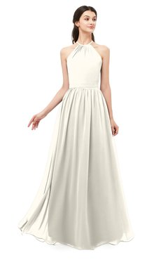 ColsBM Irene Whisper White Bridesmaid Dresses Sleeveless Halter Criss-cross Straps Sexy A-line Sash