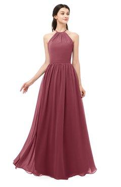 ColsBM Irene Wine Bridesmaid Dresses Sleeveless Halter Criss-cross Straps Sexy A-line Sash