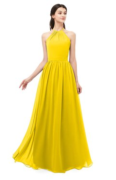 ColsBM Irene Yellow Bridesmaid Dresses Sleeveless Halter Criss-cross Straps Sexy A-line Sash