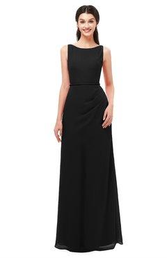ColsBM Livia Black Bridesmaid Dresses Sleeveless A-line Traditional Pick up Floor Length Sabrina