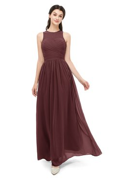 ColsBM Astrid Burgundy Bridesmaid Dresses A-line Ruching Sheer Floor Length Zipper Mature