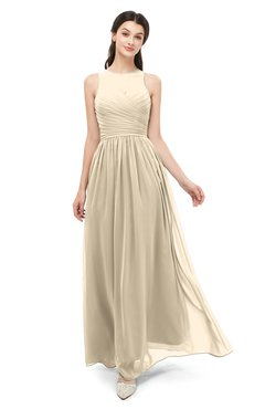 ColsBM Astrid Champagne Bridesmaid Dresses A-line Ruching Sheer Floor Length Zipper Mature