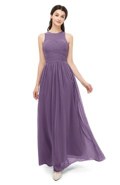 c3bcaed8464 ColsBM Astrid Eggplant Bridesmaid Dresses A-line Ruching Sheer Floor Length  Zipper Mature