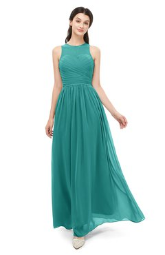 ColsBM Astrid Porcelain Bridesmaid Dresses A-line Ruching Sheer Floor Length Zipper Mature