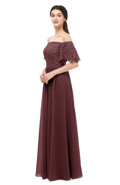 ColsBM Ingrid Burgundy Bridesmaid Dresses Half Backless Glamorous A-line Strapless Short Sleeve Pleated