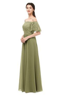 ColsBM Ingrid Cedar Bridesmaid Dresses Half Backless Glamorous A-line Strapless Short Sleeve Pleated