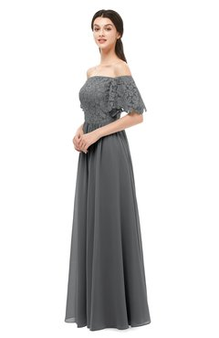 ColsBM Ingrid Grey Bridesmaid Dresses Half Backless Glamorous A-line Strapless Short Sleeve Pleated