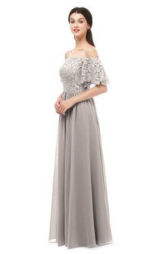 ColsBM Ingrid Mushroom Bridesmaid Dresses Half Backless Glamorous A-line Strapless Short Sleeve Pleated