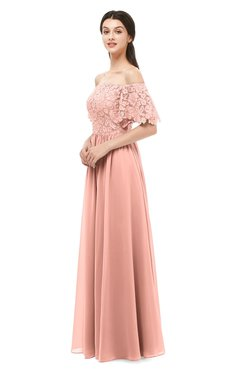 8a20a2ab76d ColsBM Ingrid Peach Bridesmaid Dresses Half Backless Glamorous A-line  Strapless Short Sleeve Pleated