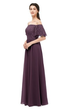 ColsBM Ingrid Plum Bridesmaid Dresses Half Backless Glamorous A-line Strapless Short Sleeve Pleated