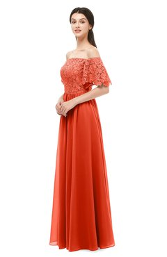 ColsBM Ingrid Tangerine Tango Bridesmaid Dresses Half Backless Glamorous A-line Strapless Short Sleeve Pleated