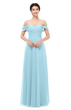 ColsBM Lydia Aqua Bridesmaid Dresses Sweetheart A-line Floor Length Modern Ruching Short Sleeve