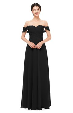 ColsBM Lydia Black Bridesmaid Dresses Sweetheart A-line Floor Length Modern Ruching Short Sleeve
