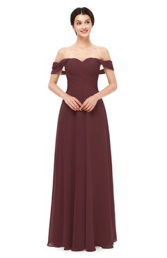 ColsBM Lydia Burgundy Bridesmaid Dresses Sweetheart A-line Floor Length Modern Ruching Short Sleeve