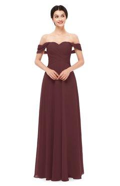 ColsBM Lydia Burgundy Bridesmaid Dresses Sweetheart A-line Floor Length Modern Ruching Short Sleeve