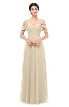 ColsBM Lydia Champagne Bridesmaid Dresses Sweetheart A-line Floor Length Modern Ruching Short Sleeve