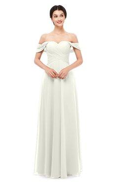 ColsBM Lydia Cream Bridesmaid Dresses Sweetheart A-line Floor Length Modern Ruching Short Sleeve