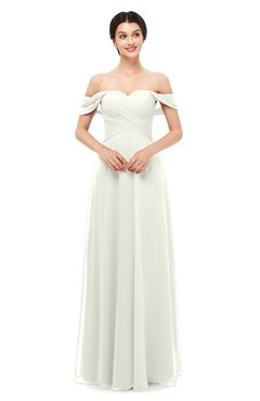 ColsBM Lydia Ivory Bridesmaid Dresses Sweetheart A-line Floor Length Modern Ruching Short Sleeve