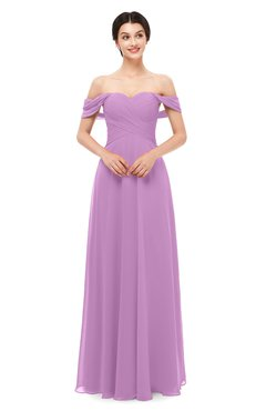 ColsBM Lydia Orchid Bridesmaid Dresses Sweetheart A-line Floor Length Modern Ruching Short Sleeve