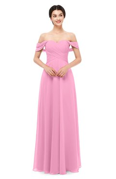 ColsBM Lydia Pink Bridesmaid Dresses Sweetheart A-line Floor Length Modern Ruching Short Sleeve