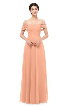 ColsBM Lydia Salmon Bridesmaid Dresses Sweetheart A-line Floor Length Modern Ruching Short Sleeve