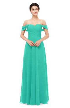 ColsBM Lydia Viridian Green Bridesmaid Dresses Sweetheart A-line Floor Length Modern Ruching Short Sleeve