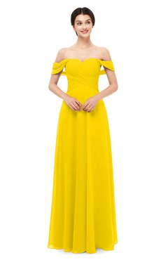 ColsBM Lydia Yellow Bridesmaid Dresses Sweetheart A-line Floor Length Modern Ruching Short Sleeve