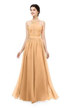 ColsBM Marley Apricot Bridesmaid Dresses Floor Length Illusion Sleeveless Ruching Romantic A-line