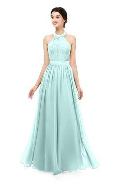 ColsBM Marley Blue Glass Bridesmaid Dresses Floor Length Illusion Sleeveless Ruching Romantic A-line