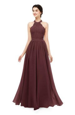 ColsBM Marley Burgundy Bridesmaid Dresses Floor Length Illusion Sleeveless Ruching Romantic A-line