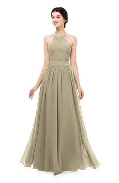 ColsBM Marley Candied Ginger Bridesmaid Dresses Floor Length Illusion Sleeveless Ruching Romantic A-line
