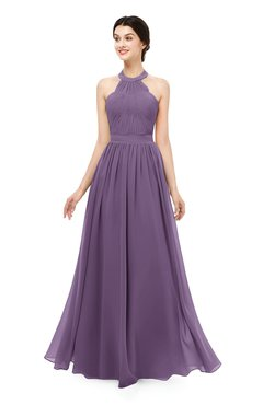 ColsBM Marley Chinese Violet Bridesmaid Dresses Floor Length Illusion Sleeveless Ruching Romantic A-line