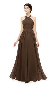 ColsBM Marley Chocolate Brown Bridesmaid Dresses Floor Length Illusion Sleeveless Ruching Romantic A-line