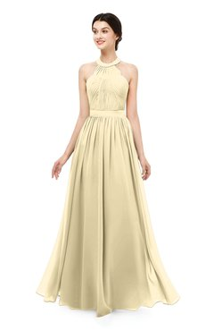 ColsBM Marley Cornhusk Bridesmaid Dresses Floor Length Illusion Sleeveless Ruching Romantic A-line