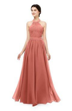 ColsBM Marley Crabapple Bridesmaid Dresses Floor Length Illusion Sleeveless Ruching Romantic A-line