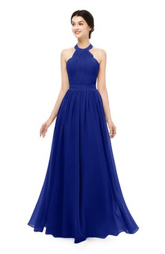 ColsBM Marley Electric Blue Bridesmaid Dresses Floor Length Illusion Sleeveless Ruching Romantic A-line