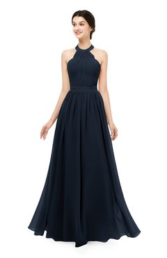 ColsBM Marley Navy Blue Bridesmaid Dresses Floor Length Illusion Sleeveless Ruching Romantic A-line