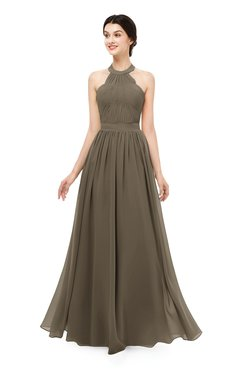 ColsBM Marley Otter Bridesmaid Dresses Floor Length Illusion Sleeveless Ruching Romantic A-line