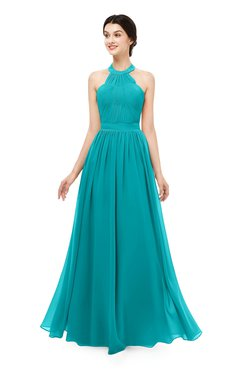 ColsBM Marley Peacock Blue Bridesmaid Dresses Floor Length Illusion Sleeveless Ruching Romantic A-line