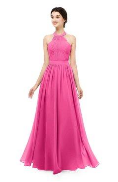 ColsBM Marley Rose Pink Bridesmaid Dresses Floor Length Illusion Sleeveless Ruching Romantic A-line
