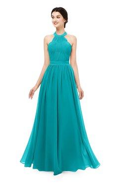 ColsBM Marley Teal Bridesmaid Dresses Floor Length Illusion Sleeveless Ruching Romantic A-line