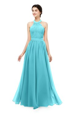 fd27ffcf489 ColsBM Marley Turquoise Bridesmaid Dresses Floor Length Illusion Sleeveless  Ruching Romantic A-line
