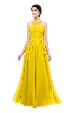 b8ac1f50b8 ColsBM Marley Yellow Bridesmaid Dresses Floor Length Illusion Sleeveless  Ruching Romantic A-line